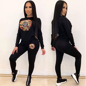 VERSACE Fashion Women Casual Print Long Sleeve Top Pants Set Two Piece Sportswear