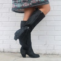SZ 6.5 NOT RATED Celestial Falls Black Heeled Boots With Scalloped Lace Detail