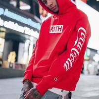 KITH & Champion Red Hooded pullover Hoodies Sweatshirt H-A-GHSY-1
