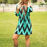 Green and Black Chevron Dress CLEARANCE
