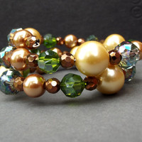 Gold Pearl Wrap Bracelet:  Apple Green Crystal Beaded Cuff, Autumn Jewelry, Golden Bronze Chunky Stacked Bracelet