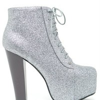 A'GACI Victoria 24 Glitter Lace Up Platform Ankle Booti - BOOTIES