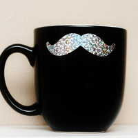 Mustache Sparkle Mug  Black with Silver by TheBeautifulHome