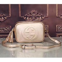 GUCCI :Ladies embossed double buckle double G fringed zipper Satchel