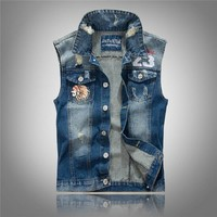 Sleeveless Jeans Vest Men Jackets Embroidery Character Mens Denim Motorcycle Vest Vintage Men Jean Waistcoat Hole 3XL ,PA074
