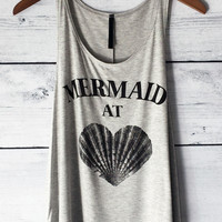 Mermaid at Heart Tank Top in Heather Grey