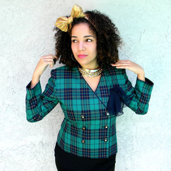 90s CLUELESS Cropped Blazer - Fitted Suit Jacket by LE SUIT w Green, Navy Blue, n Yellow Plaid, Chunky Gold & Enamel Buttons - Size 10 P