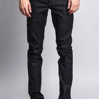 Men's Skinny Fit Raw Denim Jeans (Black/Timber)