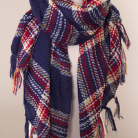 Urban Tassel Plaid Scarf - Navy