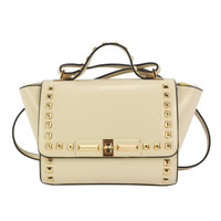 Beige Stud Embellished Winged Satchel Bag