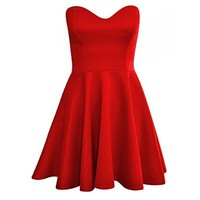 Forever Womens Sleeveless Plain Strapless Bandeau Padded Boobtube Skater Dress
