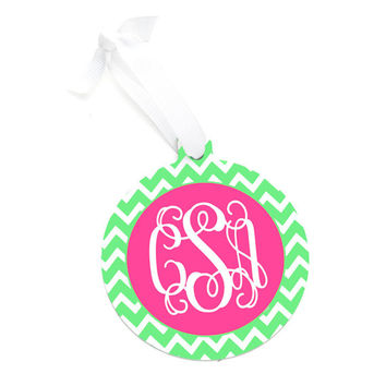 Monogrammed Lime Green Chevron Christmas Tree Ornament - Personalized Red Chevron Green Pink