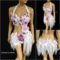 Pink Lavender Frosted Winter Fairy Monokini Costume