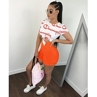 Champion Newest Fashionable Woman Sexy Print Short Sleeve Top Shorts Set Two Piece Orange