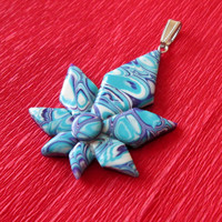 turquoise flower necklace,polymer clay jewelry,gift for her,summer necklace,affordable necklace,turquoise boho necklace,beach pendant