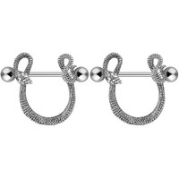 1Pair 316L Surgical Steel Snake Bar Nipple Ring Body Piercing Jewelry Circle Piercing Nipple Shield Ring 14G Nipple Piercing Bar