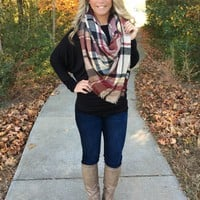 The Perfect Blanket Scarf - Camel/Wine