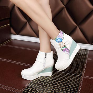 Printed Wedges Boots Women Shoes Fall Winter 11191501