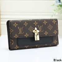 LV Louis Vuitton Women Leather Multicolor Wallet Purse Black