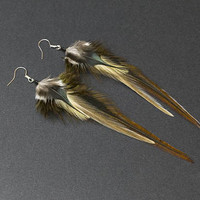Organic earrings Made with real Feathers Earthy Jewelry in Earth Tones Jewellery Native American style Indian dangle earrings Tribal jewelry