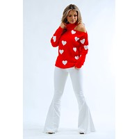 Queen Of Hearts Sweater: Red/White
