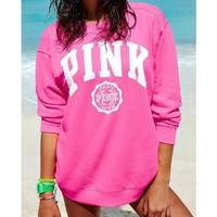 """""""PINK"""" Victoria's Secret Fashion Women Casual Letter Print Long Sleeve Round Collar Pullover Sweater Top Pink I"""