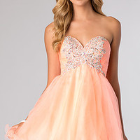 Short Strapless Dress with Rhinestone Accents by Alyce Paris