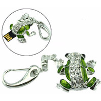 Cute Jeweled Frog Keychain USB Flash Drive 4GB, 8GB, 16GB, 32GB, and 64GB