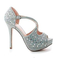 Carina5 By Blossom, Sparkling Strappy D'orsay Peep Toe Platform Stiletto Heels