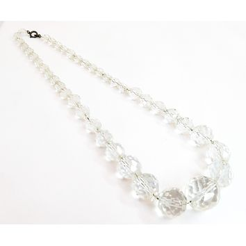Art Deco sterling silver Faceted Czech glass lead crystal clear beaded necklace Antique