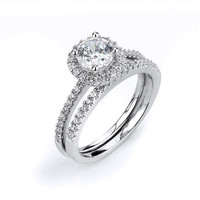 Sterling Silver Rhodium Plated and round CZ center stone Halo Wedding Set: Rings