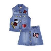 2016 fashion summer children clothing sets kids girl boutique outfits Cartoon sleeveless jackets sequins Denim shorts clothes