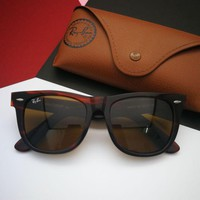 RB2140 RAYBAN WAYFARER TORTOISE WITH BROWN B15 GLASS LENS PREMIUM QUALITY