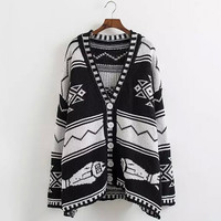 Geo Print Colorblocked Knitted Cardigan Sweaters for Woman