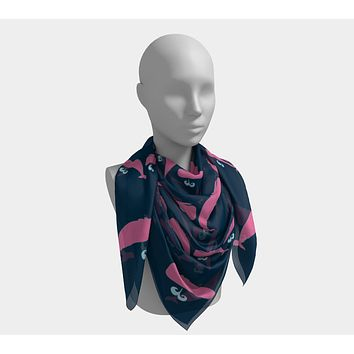 Whale Square Scarf - Pink on Navy