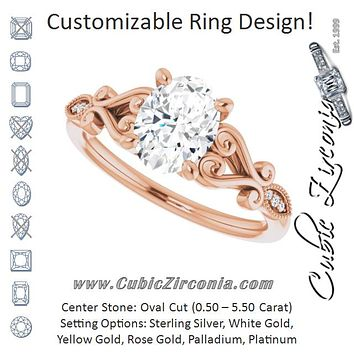 Cubic Zirconia Engagement Ring- The Annika (Customizable 7-stone Design with Oval Cut Center Plus Sculptural Band and Filigree)
