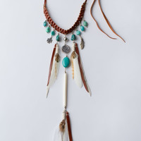 Pocahontas Princessette Necklace - Turquoise and Tan Leather | Spell & the Gypsy Collective
