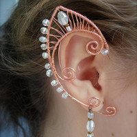 Pair of Copper Woven Wire Elf Ear Cuffs with Clear Glass Accents Renaissance, Elven Ears, Halloween Costume Earrings