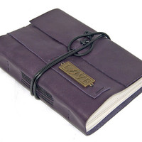 Purple Leather Journal with Love Bookmark