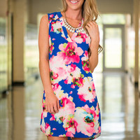Floral Waters Dress, Pink-Blue