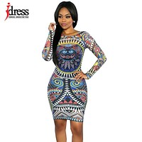IDress Sexy Mesh African Print Dresses Autumn Winter Tenue Africaine Bandage Bodycon Midi Dress Long Sleeve Cheap Clothes China