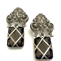 Stephen Dweck Sterling Silver Earrings, Large Smokey Quartz, Dangle Earrings, Ornate Sterling Silver Repousse, Vintage Gift for Her, Signed
