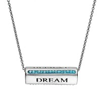 Crystal Silver-Plated ''Dream, Imagine, Believe'' Spinner Bar Pendant Necklace (Blue)