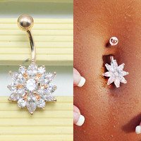 Elegant Women Belly Button Rings Crystal Flower Jewelry Navel Bar Body Piercing Gold + Gift Box