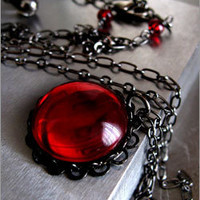 Dark Blood Red Glass Pendant Necklace with Black Chain - Shy Siren