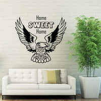 Wall Decal Quotes Home Sweet Home Eagle Wild Bird Predator Design Decals Living Room Bedroom Hotel Hostel Window Stickers Home Decor 3763