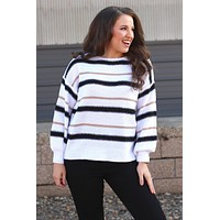 Striking Stripes Sweater {White}