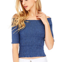 Smocked Chambray Crop Top