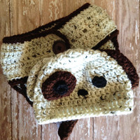 Crochet Puppy Dog Hat and Diaper Cover Set - Newborn to 6 months / Photo Prop / Baby Boy or Girl Gift