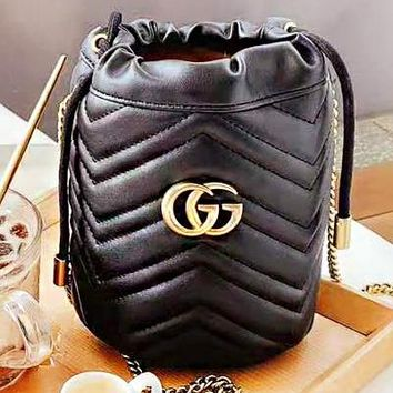 GUCCI New fashion leather chain shoulder bag women bucket bag Black